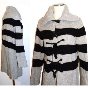 GAP 100% Wool Sweater Coat Gray & Black Stripe